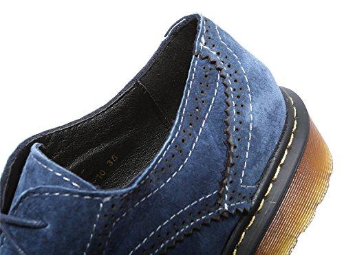 Oxford zapatos redonda Zapatos de Flats Full Classic derby Brogue punta Azul Smilun Lady wfqXZqa