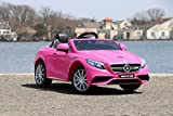 pink motor car - First Drive Mercedes Benz S63 Pink 12v Kids Cars - Dual Motor Electric Power Ride On Car Remote, MP3, Aux Cord, Led Headlights Premium Wheels
