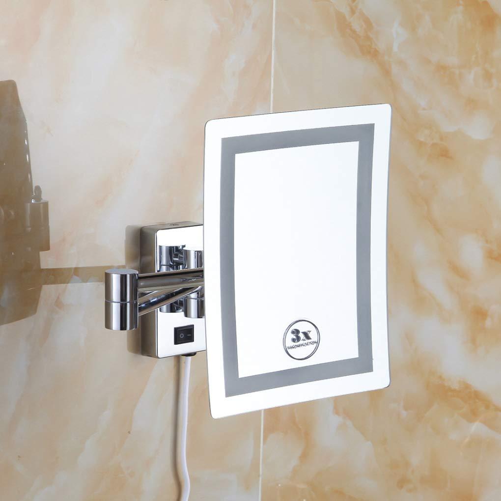 Schminkspiegel mit Licht, einseitiger Wandspiegel-8-Zoll-Kosmetikspiegel für Beleuchtungsspiegel -3X Vergrößerungsspiegel für das Spiegeln im Schlafzimmer oder Badezimmer