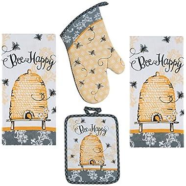 4 Piece Bee Happy Kitchen Set - 2 Terry Towels, Oven Mitt, Potholder
