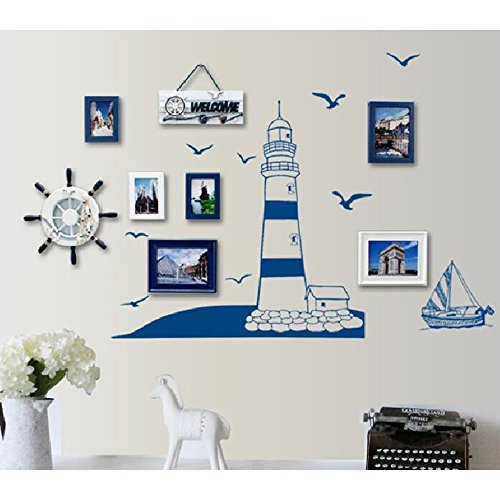 Kaimao DIY Lighthouse and Sailing Wall S - Blue Space Wallpaper Border Shopping Results