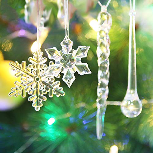 Winterworm 40 Pcs Christmas Ornaments Set - Hanging Acrylic Crystal Clear Snowflakes Glitter Icicles Drop Chrismtas Tree New Year Party Decorations