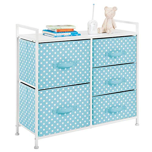 mDesign Wide Dresser 5 Drawers Storage Furniture – Wood Top, Easy Pull Fabric Bins – Organizer for Child/Kids Room or Nursery – Polka Dot Pattern, 32.6″ W – Turquoise Blue with White Dots