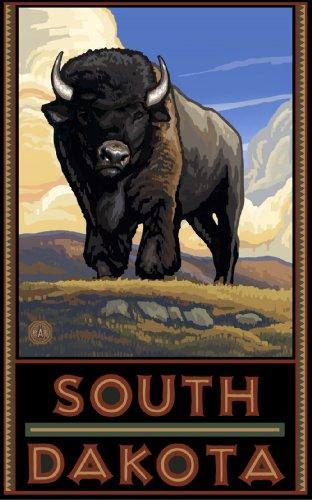 Northwest Art Mall South Dakota Buffalo on Plains Wall Art by Paul A. Lanquist, 11-Inch by - Mall South Plains
