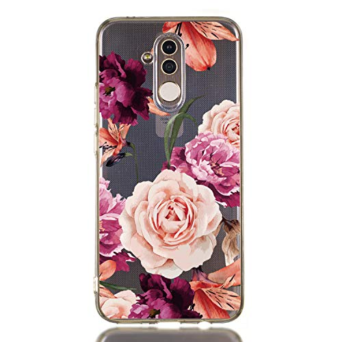 Amocase Cute Floral Case with 2 in 1 Stylus for Huawei Mate 20 Lite,Stylish Ultra Thin Sweet Flowers Soft Rubber Silicone TPU Shockproof Anti-Scratch Flexible Clear Case – Purple Flower