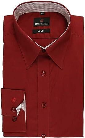 Roman Rothschild - Camisa formal - para hombre rojo oscuro: Amazon.es: Ropa y accesorios