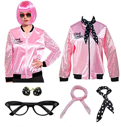 Ladies 50S Grease Pink Satin Jacket Halloween Cosplay Costume with Wig Neck Scarf (L, Pink) -