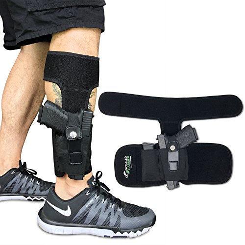 CONCEALED CARRIER (TM) Ankle Holster For Concealed Carry Pistol | Universal Leg Carry Gun Holster with Magazine Pouch For Glock 42, 43, 36, 26, S&W Bodyguard .380, .38, Ruger LCP, LC9, Sig Sauer (Ankle Pistol Holster)