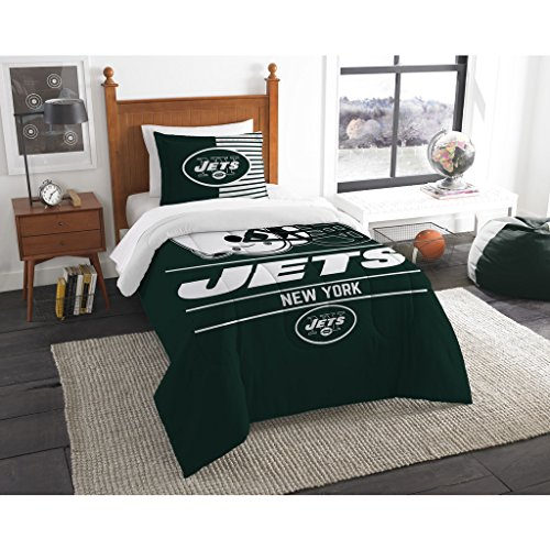 2 Piece NFL New York Jets Comforter Set Twin Size, Sports Fan College Dorm Bedroom, National Football League Themed, Featuring Team Logo Printed Draft Unisex Bedding, Green, White, Multicolor ()