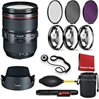 Canon EF 24-105mm f/4L IS II USM Lens with 3 Peice Filter Kit, Blower, Lens Hood, Lens Pen, Case, Cap Keeper, Cleaning Cloth, 3 Piece Macro Closeup Kit