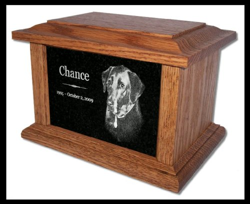 Etch Urn (Pet Cremation Memorial Urn by Eric @ StoneArtUSA / Custom Personalized Engraved Granite Oak Wood Photo Marker Dog Cat Pet Ashes -- Medium for Pets up to 66 Lbs.)