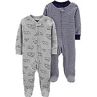 kit 2 Pijama macacão manga longa com pezinho Carter's - cinza caminhão