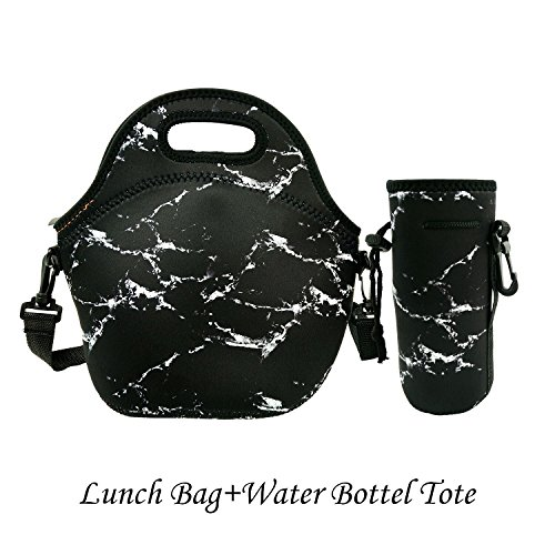 Amerzam Neoprene Lunch Bags/Lunch Boxes, Waterproof Outdoor Travel Picnic Lunch Box Bag Tote with Zipper and Adjustable Crossbody Strap for Women Men Kids Girls Adults