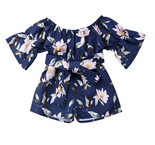 Toddler Baby Girls Floral Printed Romper Playsuit Kids Bandage Off Shoulder Jumpsuits (12-24 Months, Navy Blue)