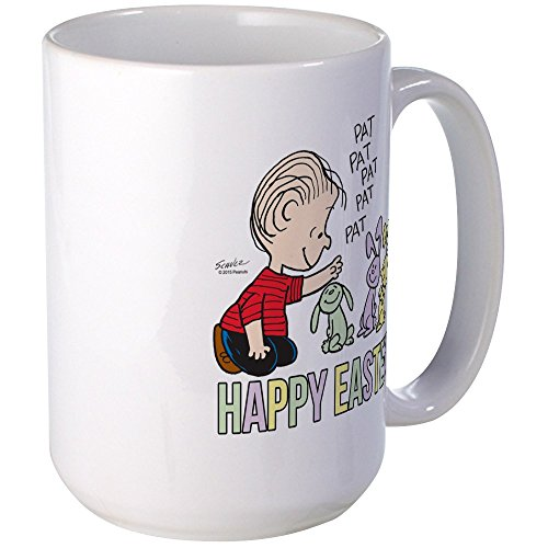 (CafePress Happy Easter Linus Large Mug Coffee Mug, Large 15 oz. White Coffee Cup)