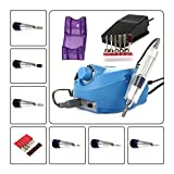 Electric Nail Drill File Kit, CoastaCloud 110V Professional Acrylics Manicure Pedicure Nail Drill Art File Machine Kits with Pedal - Blue