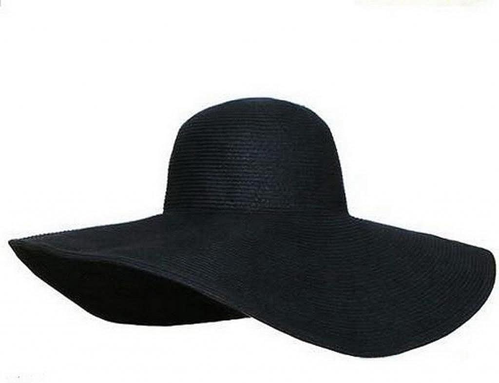 Women's Ridge Wide Floppy Brim Summer Beach Sun Hat Straw Cap Party Garden Travel (Black)