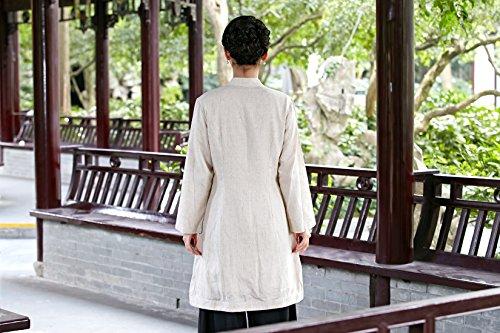 Femme Chemisier Lin Acvip Blouse Coton Chinoise Beige Elégant Tang Des Veste Et Longue Costume AqdwdStFx