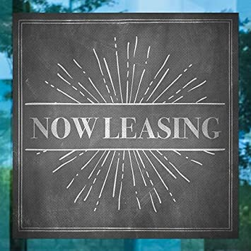 5-Pack Now Leasing CGSignLab Chalk Burst Perforated Window Decal 24x24
