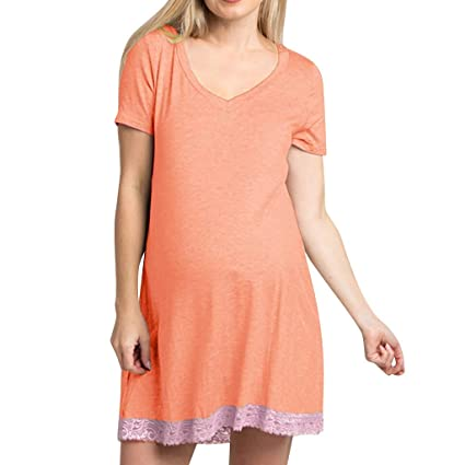 5bed29153 Amazon.com: SSZZoo Women Pregnancy Dress Short Sleeve Solid Lace Maternity  Side Ruched Loose Pajamas Dresses (L, Orange): Kitchen & Dining
