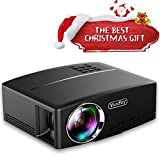 Yaufey 1800 Lumens Portable Projector with Free HDMI Cable, Mini Projector support HD 1080P USB VGA AV, LCD Home Theater Video Projector for Laptop Smartphone TV Games Videos, Black