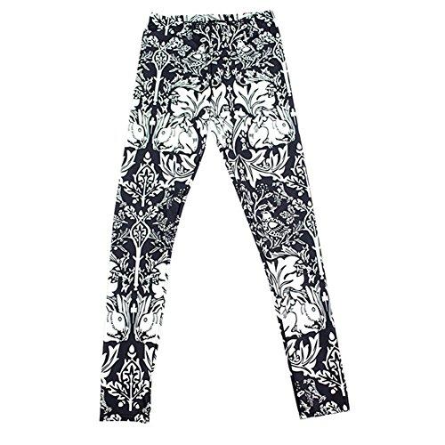 VWU Mujer Pantalones Elásticos Print Impresión Animal Flor Pájaro Conejo Apretado Deporte Fitness Sports Running Pants Yoga Leggings S-3XL