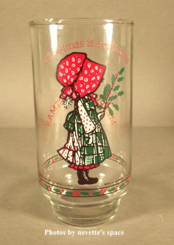 Collectible Holly Hobbie Drinking Glass Mug - Christmas is a Gift of Joy - 16oz.