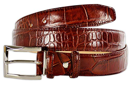 (Pasquale Cutarelli Mens Crocodile Pattern Italian Leather Belt (7167) Burgundy 44 inches)