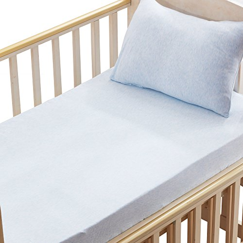 Modern Toddler Cot Bed - 100% Organic Cotton 2 Piece Bedding Set with 1 Toddler Deep Pocket Fitted Crib Sheet, 1 Toddler Pillowcase, Blue by NTBAY