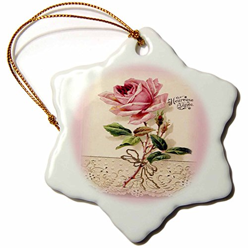 3dRose Florene Vintage - French Vintage Rose n Lace - 3 inch Snowflake Porcelain Ornament (orn_60637_1) (French Porcelain Lace)