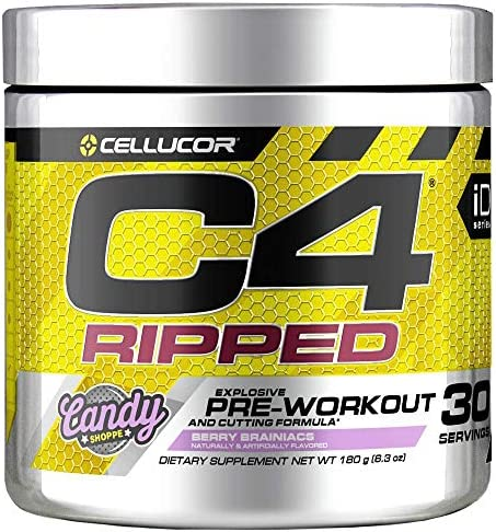 C4 Ripped Pre Workout Powder Berry Brainiacs Creatine Free Sugar Free Preworkout Energy Supplement for Men Women 150mg Caffeine beta Alanine Weight Loss 30 Servings