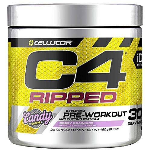 (Cellucor C4 Ripped Pre Workout Powder, Thermogenic Fat Burner & Metabolism Booster for Men & Women with Green Coffee Bean Extract, Berry Brainiacs, 30 Servings)