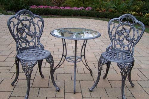 Oakland Living Hummingbird Cast Aluminum 24-Inch Glass Top Table with 3-Piece Bistro Set, Antique Pewter