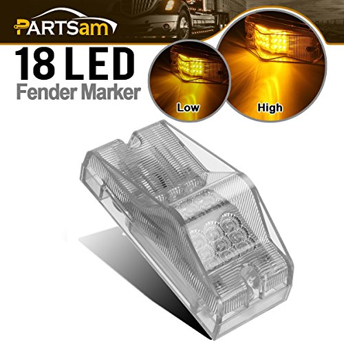 Partsam Amber 18 LED Trailer Bus Mid Turn Signal Marker Light Clear Lens Surface Mount Waterproof, Replacement for Freightliner Sleepers Panel Side Marker Turn Signal Running Lights