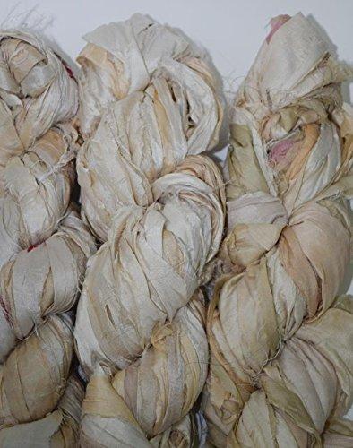 Recycled Silk Sari Yarn (Sari Pure Silk 100g Ribbon Yarn Cream multi-recycled Sari Silk Ribbon Yarn)