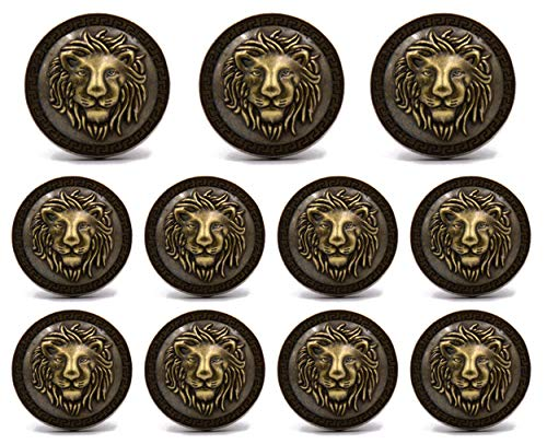 11 Pieces Bronze Vintage Antique Buttons Set - 3D Lion Head, for Blazer, Suits, Sport Coat, Uniform, Downjacket, Windbreaker, Jackets ()