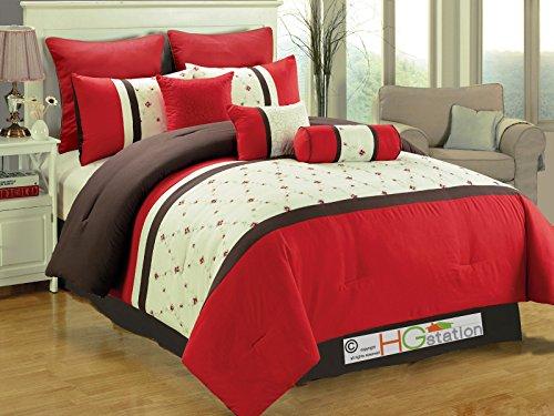 7-Pc Eden Floral Garden Trellis Embroidery Comforter Set Red Brown Off-White Queen (Lattice Quilt Garden)