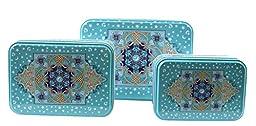 Set of 3 Arabic Style Nesting Kitchen Lunch Food Storage Blue Tin Boxes Tea