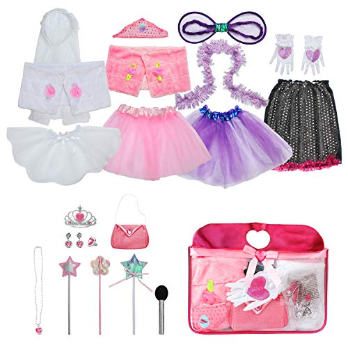 Sinuo Girl Dress Up Set, Princess Role Play Dress Up Trunk 21pcs Girls Popstar, Fairy, Princess, Bride Pretend Costumes Outfits for Kids Age from 2-5 -