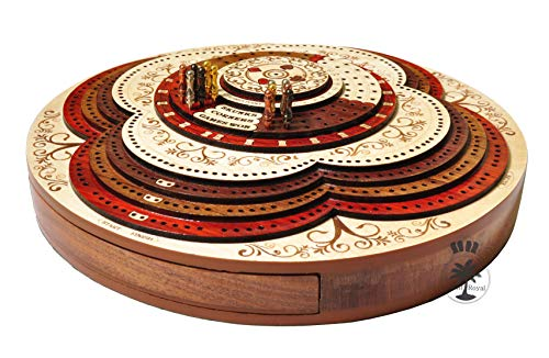 Palm Royal Handicrafts - 4 Track Cribbage Board Made with Bloodwood / Maple / Rosewood / Teak Wood . 3D Cribbage Board . 4 Track Continuous Cribbage Board . 8 Steps . (Continuous Track Cribbage Board)
