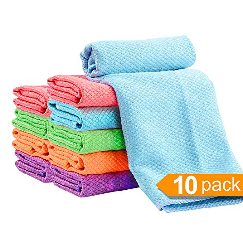 Bulk 10 Pack 12x16in Microfiber Dishcloth-Reusable Cleaning Cloths for Kitchen-Super Absorbent Dish Cloth Hand Towels(5 Colors,10pack 12x16in) ()