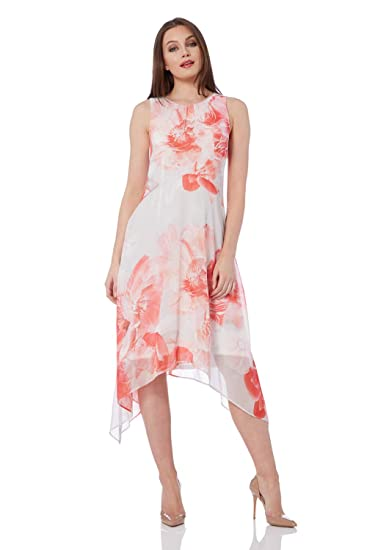 2ac01e31d48 Roman Originals Women Floral Chiffon Hanky Hem Dress - Ladies Midi  Sleeveless Summer Evening Bridal Pastel Bohemian Elegant Mother of The Bride  Groom ...