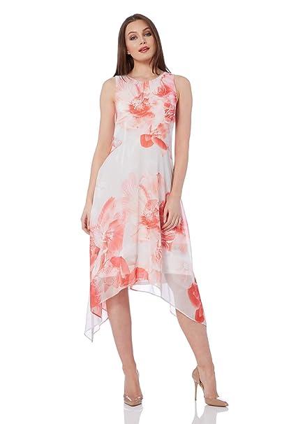 cfbabd064423b Roman Originals Women Floral Chiffon Hanky Hem Dress - Ladies Midi  Sleeveless Summer Evening Bridal Pastel Bohemian Elegant Mother of The  Bride Groom ...