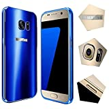 For samsung galaxy s7 Edge Case,JUN-Q® Luxury Air Aluminum Metal Bumper Detachable + Scrub Hard Back Case 2 in 1 protect cover for samsung galaxy s7 Edge(Blue)