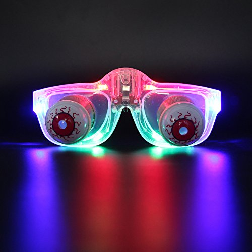 DAXIN DX Light Up Pop Out Eyes Glasses Droopy Eyes Glasses Goofy Slinky Pop Out Eye Gag Halloween Costume Party Joke Transparent Multicolor