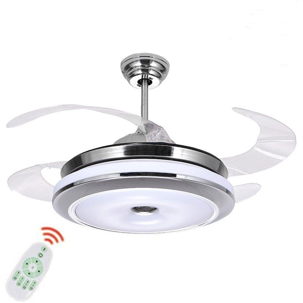 Ventilatore lampadario silenzioso ventilatore da soffitto moderno 4 Leaf fan lama reversibile con ventilatore a soffitto lampada LED lampadario tre colori dimming, metallo Vetro, Remote Control (36'' / 92CM). [Classe di efficienza energetica A+++]