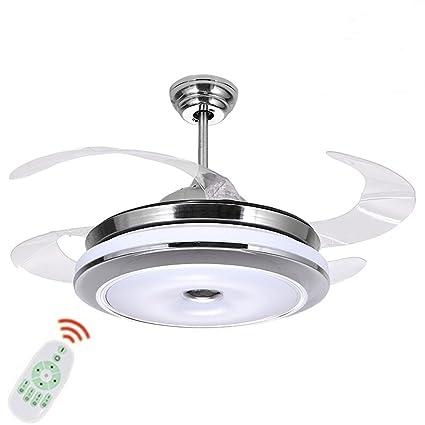 LED Invisible Ceiling Fan Light Modern Dining Room Fan Chandelier Lamp For  Restaurant, Study Room