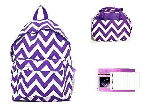LA Chevron Backpack School Work Lunchbox Bag Purse Notepad Set Jp Purple White