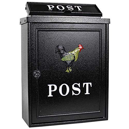 MI ER- E-mail - galvanized sheet, European pastoral creative outdoor wall lock rainproof mailbox, suitable for villas, courtyards (Color : ()