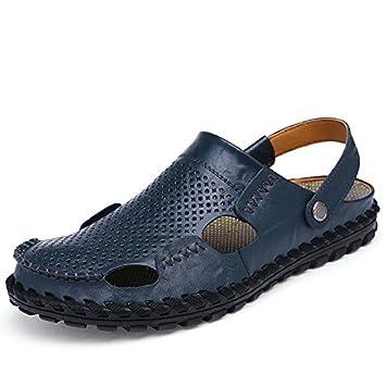 Bluelover Cuero Hueco Hombres Sandalias Zapatillas Verano Casual Playa Peso Ligero Suave Transpirable Duradera - Azul - 9: Amazon.es: Hogar